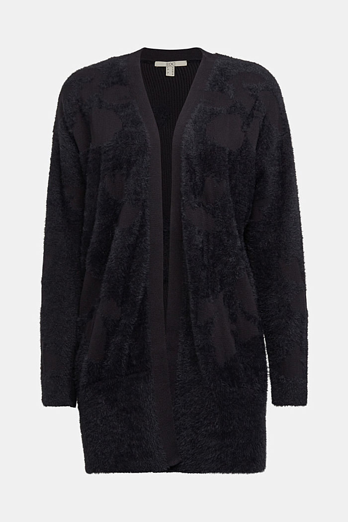 Jacquard cardigan with organic cotton, BLACK, detail image number 6
