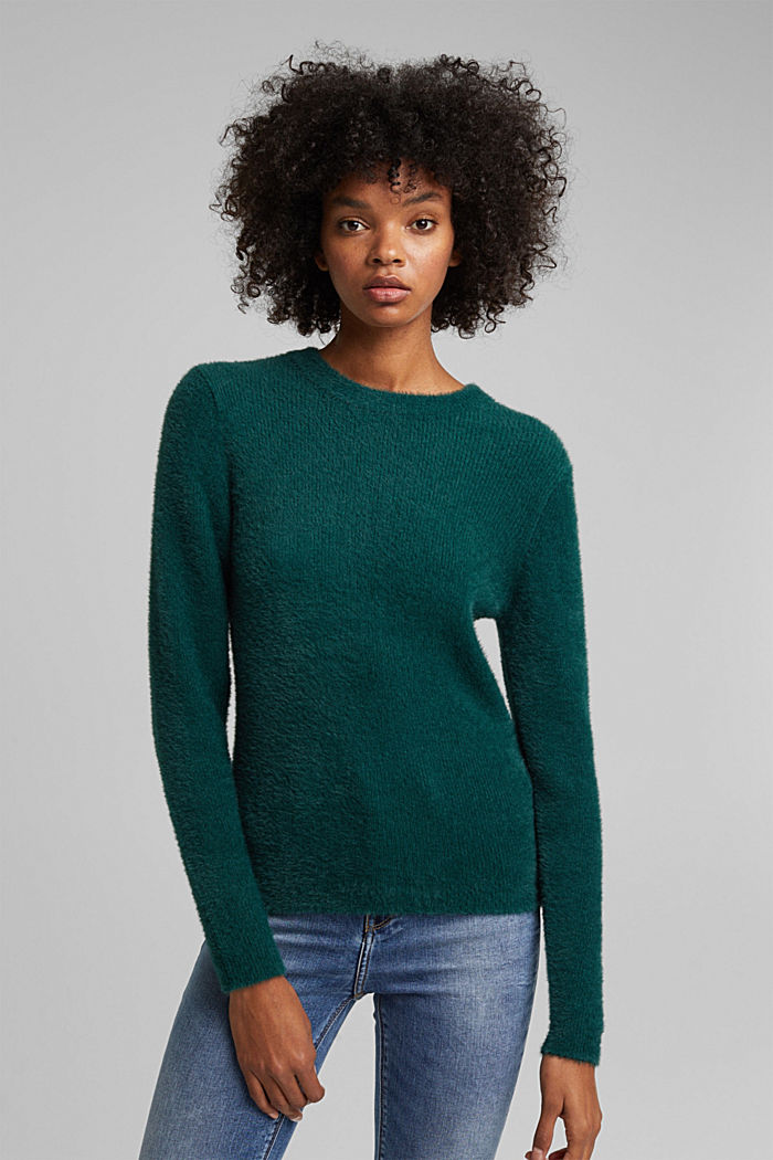 Jumper with organic cotton, DARK TEAL GREEN, detail image number 0