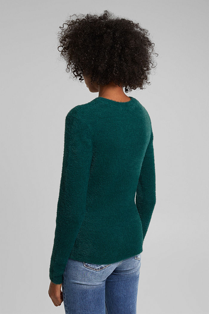 Jumper with organic cotton, DARK TEAL GREEN, detail image number 3