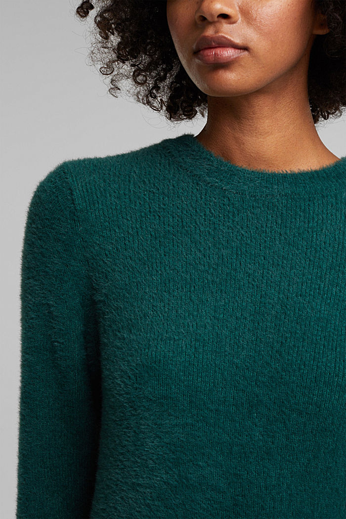 Jumper with organic cotton, DARK TEAL GREEN, detail image number 2
