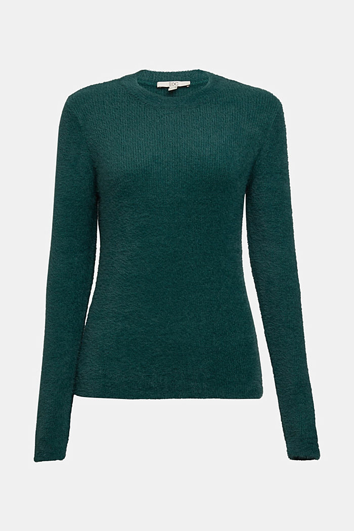 Jumper with organic cotton, DARK TEAL GREEN, detail image number 6