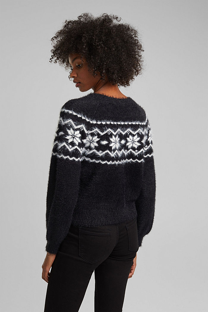 Fair Isle jumper with organic cotton, BLACK, detail image number 3