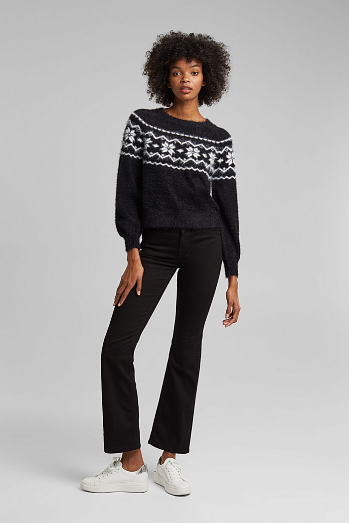 Fair Isle jumper with organic cotton, BLACK, detail image number 1