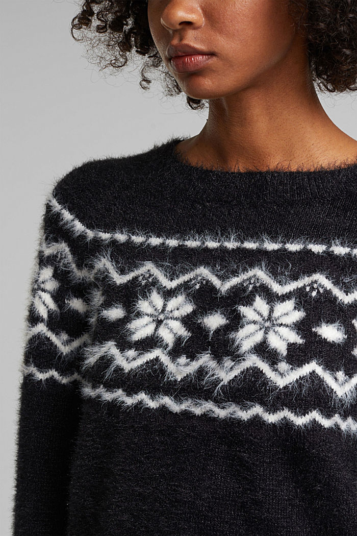 Fair Isle jumper with organic cotton, BLACK, detail image number 2