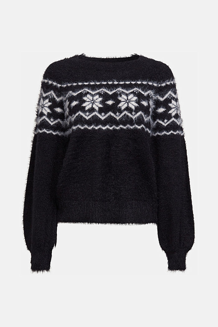 Fair Isle jumper with organic cotton, BLACK, detail image number 6