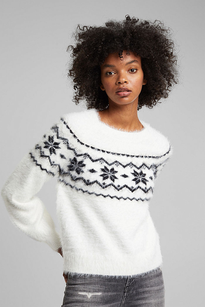 Norweger-Pullover mit Organic Cotton, WHITE, detail image number 0