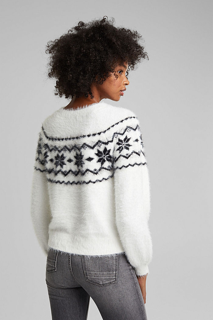 Norweger-Pullover mit Organic Cotton, WHITE, detail image number 3
