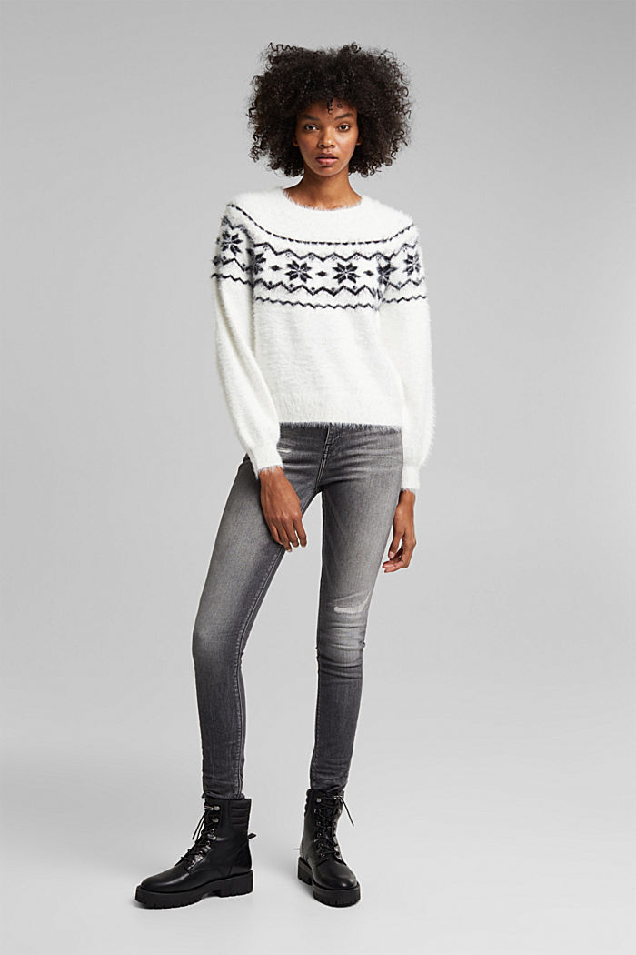 Norweger-Pullover mit Organic Cotton, WHITE, detail image number 5