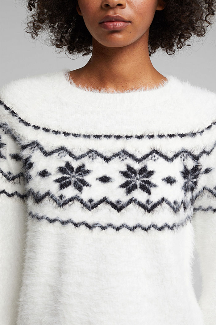 Norweger-Pullover mit Organic Cotton, WHITE, detail image number 2