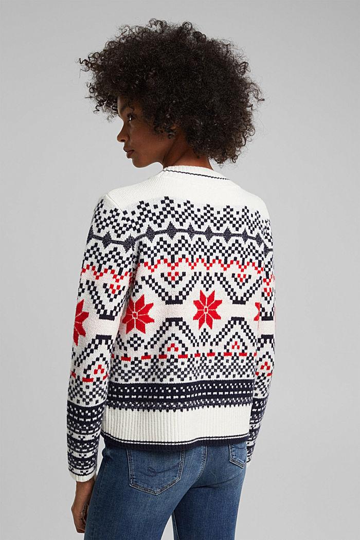 Wool blend: Jacquard jumper with lurex, RED, detail image number 3