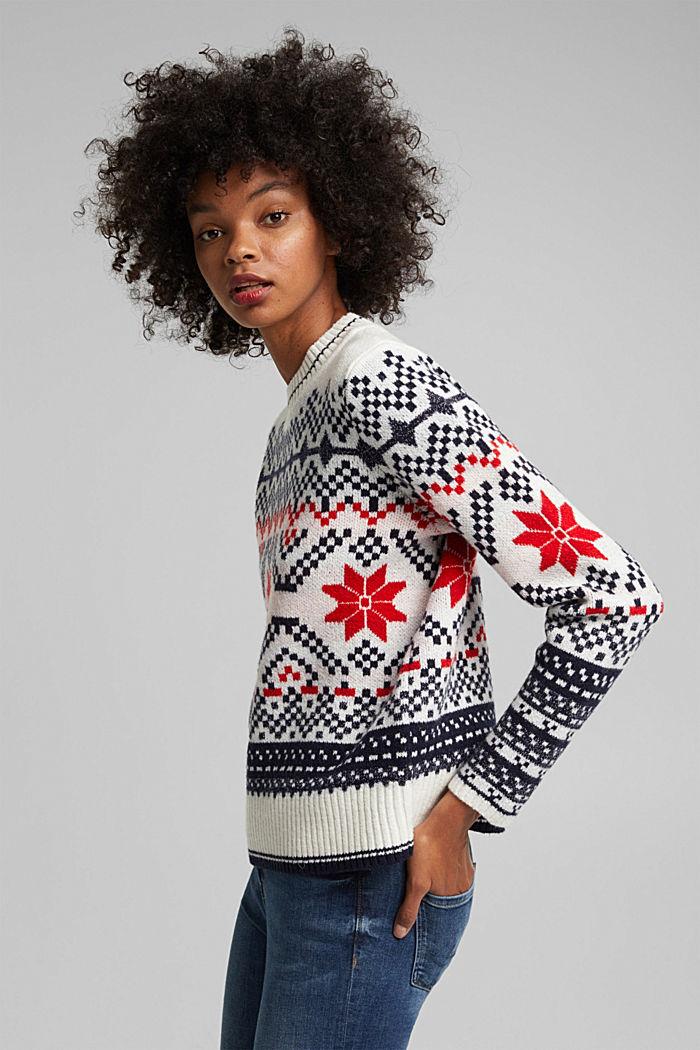 Wool blend: Jacquard jumper with lurex, RED, detail image number 5