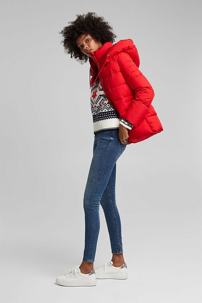 Wool blend: Jacquard jumper with lurex, RED, detail image number 1