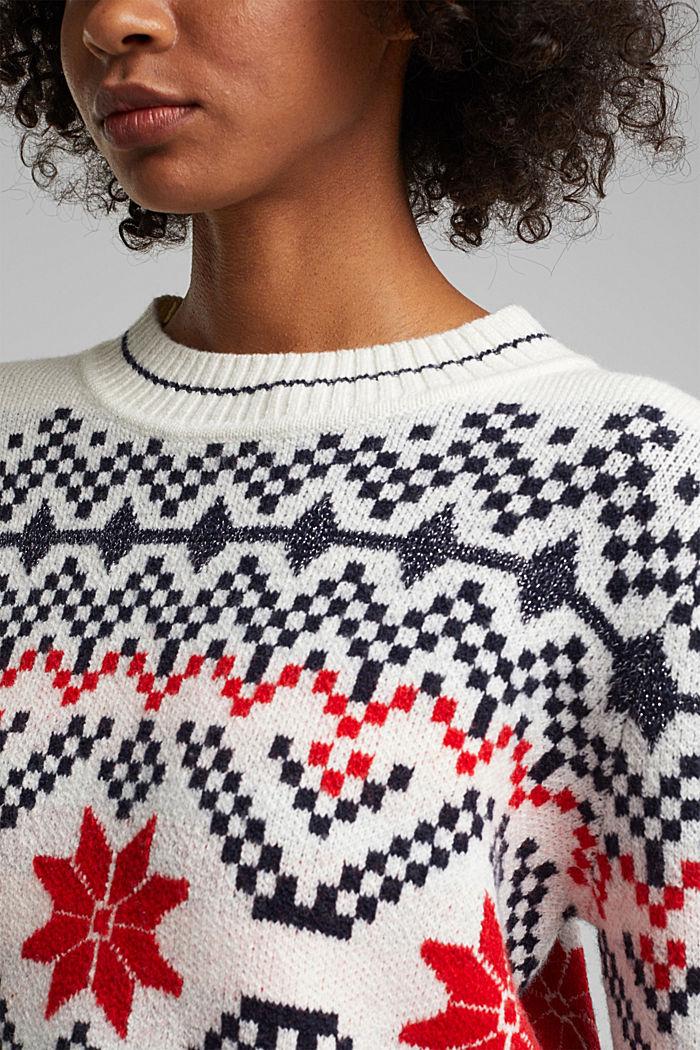 Wool blend: Jacquard jumper with lurex, RED, detail image number 2