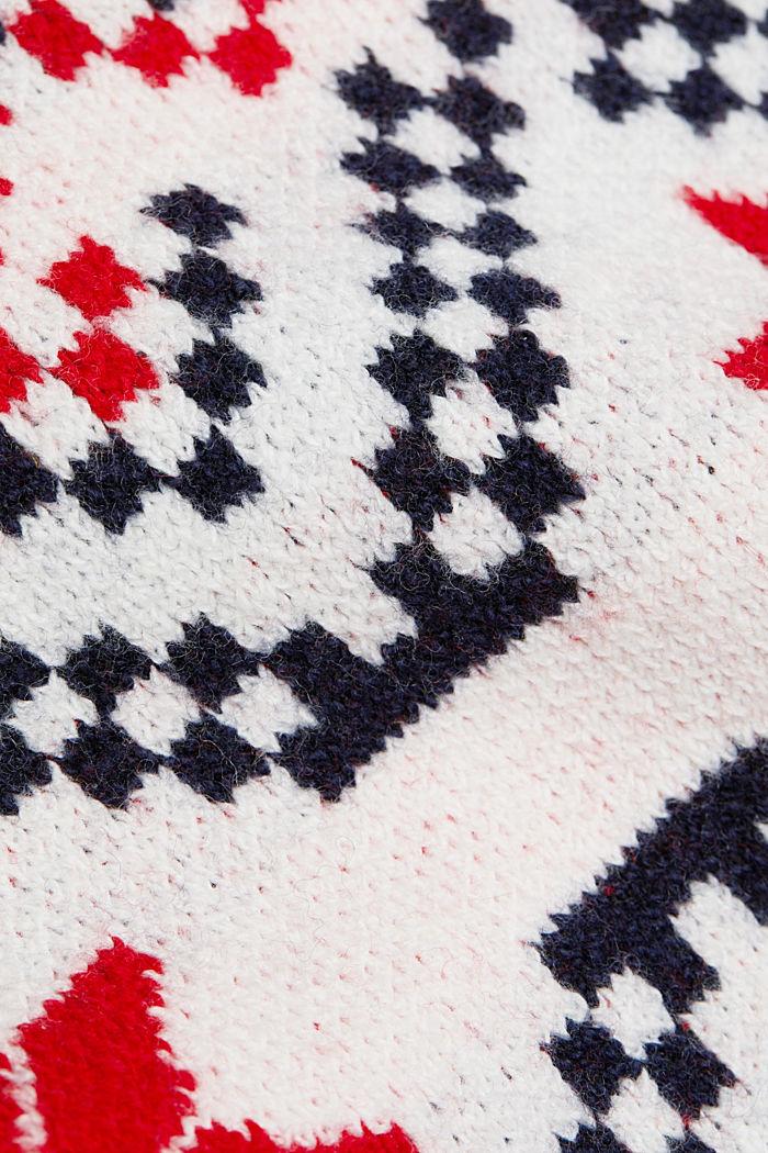 Wool blend: Jacquard jumper with lurex, RED, detail image number 4