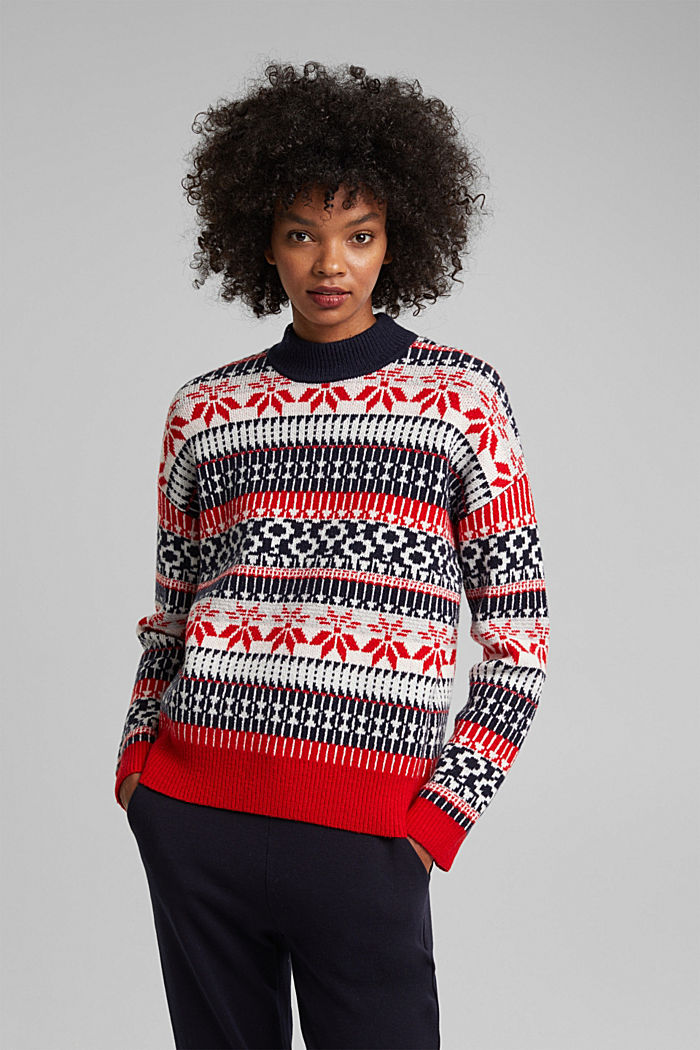 Wool blend: Jacquard jumper with lurex, RED, detail image number 0