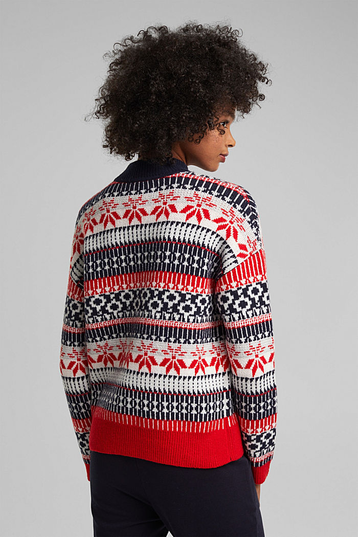 Wool blend: Jacquard jumper with lurex, RED, detail image number 3