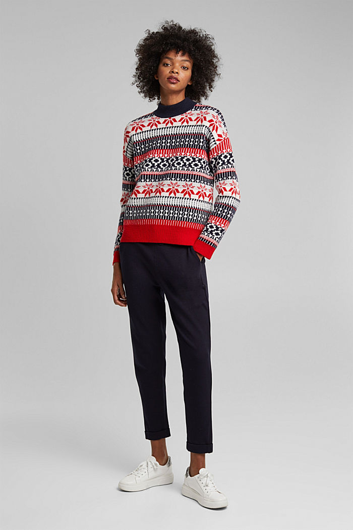 Wool blend: Jacquard jumper with lurex, RED, detail image number 5