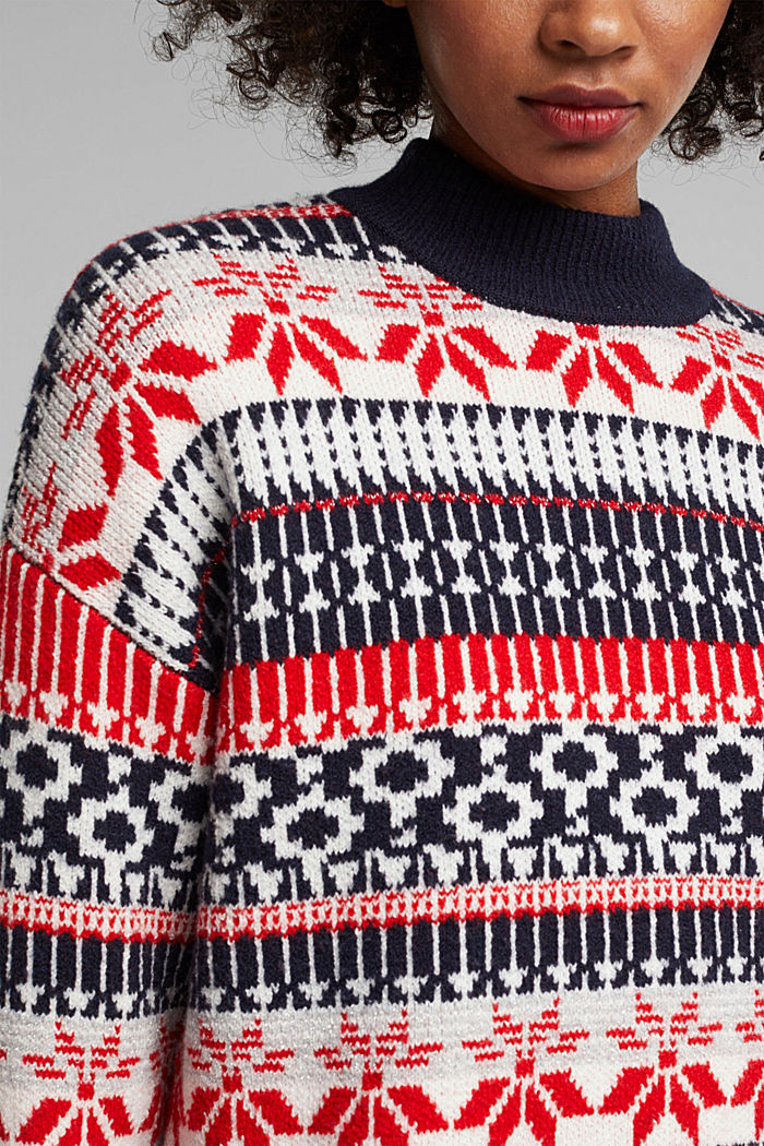 Wool blend: Jacquard jumper with lurex, RED, detail image number 2