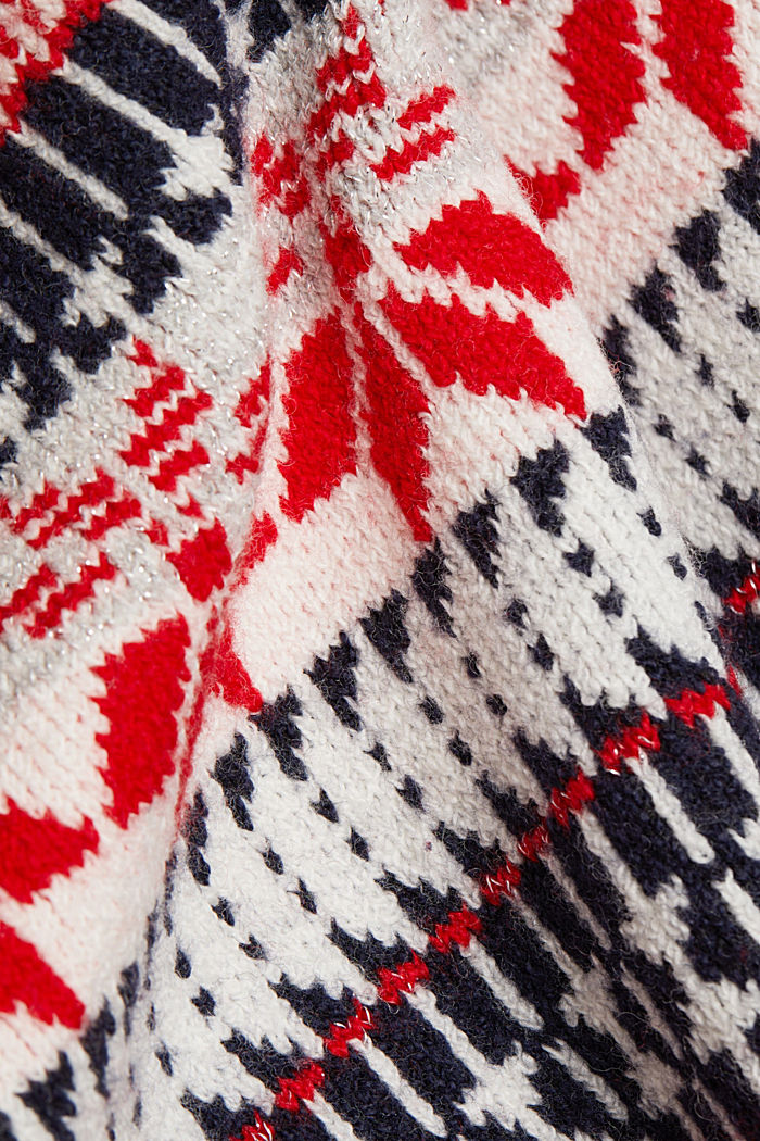 Wool blend: Jacquard jumper with lurex, RED, detail image number 4