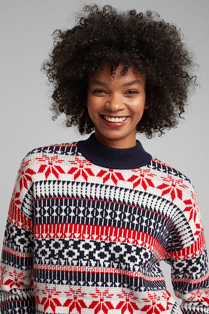 Wool blend: Jacquard jumper with lurex, RED, detail image number 6