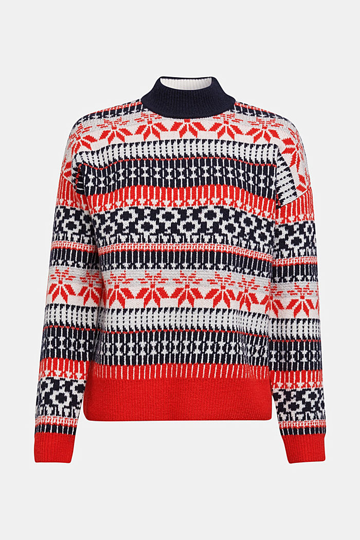 Wool blend: Jacquard jumper with lurex, RED, detail image number 7