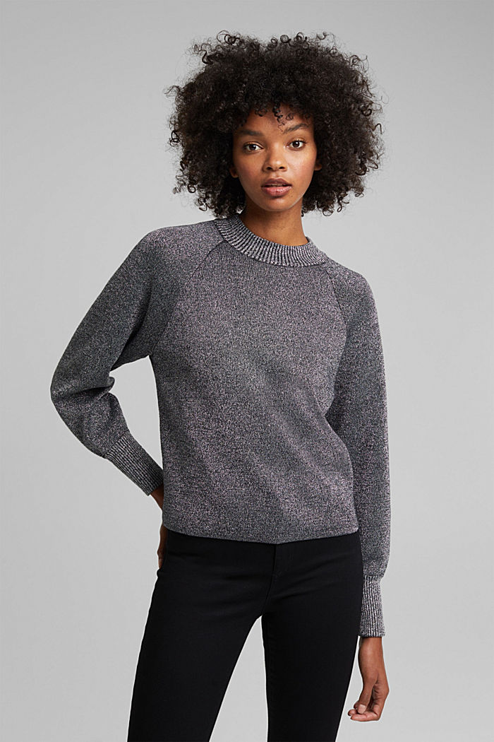 Lurex jumper containing organic cotton, GUNMETAL, detail image number 0