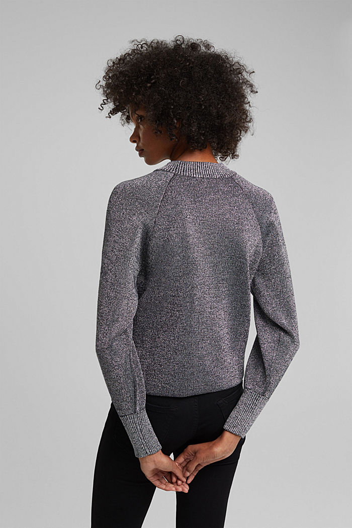 Lurex jumper containing organic cotton, GUNMETAL, detail image number 3