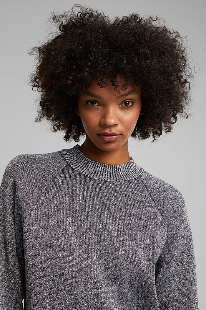 Lurex jumper containing organic cotton, GUNMETAL, detail image number 5