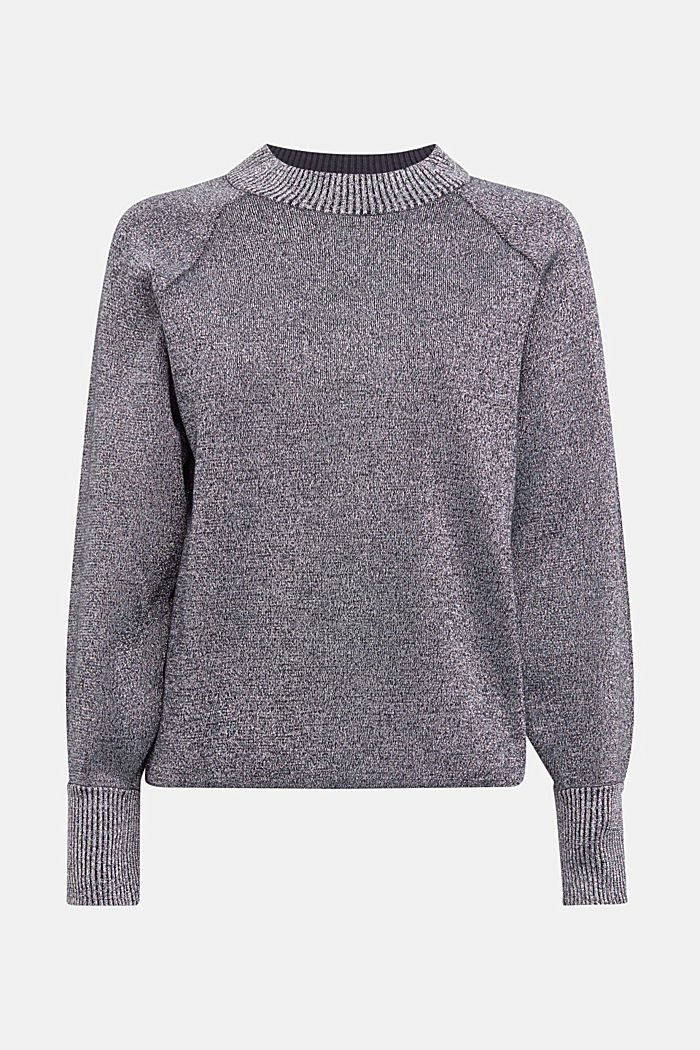 Lurex jumper containing organic cotton, GUNMETAL, detail image number 6