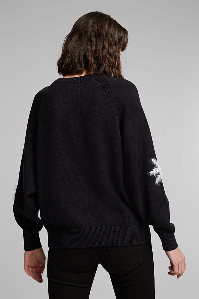 Motif jumper with organic cotton, BLACK, detail image number 3