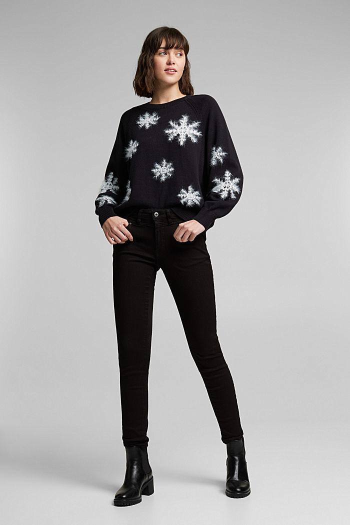 Motif jumper with organic cotton, BLACK, detail image number 5