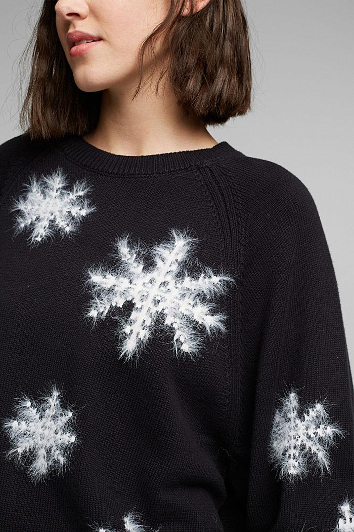 Motif jumper with organic cotton, BLACK, detail image number 2