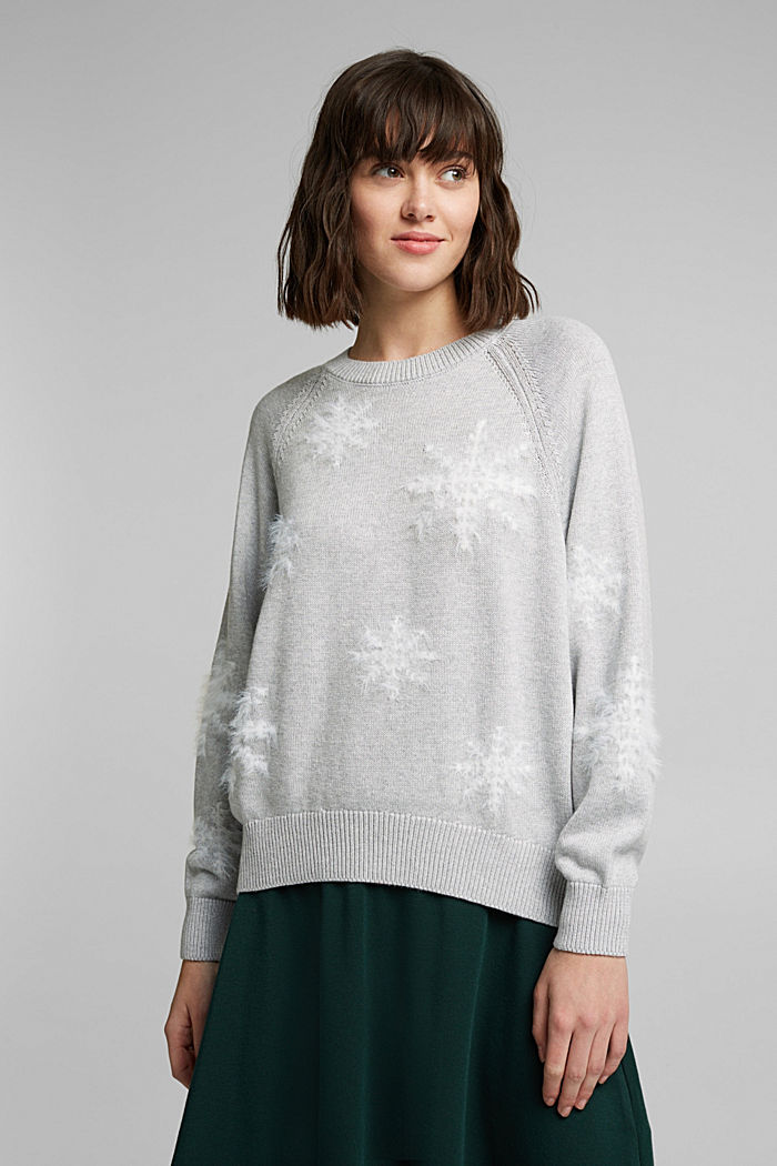 Motif jumper with organic cotton, LIGHT GREY, detail image number 0