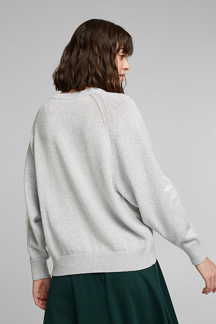 Motif jumper with organic cotton, LIGHT GREY, detail image number 3