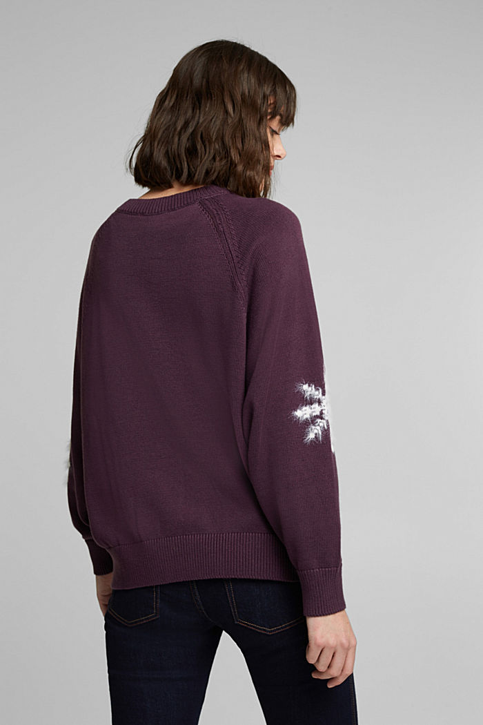 Motif jumper with organic cotton, AUBERGINE, detail image number 3