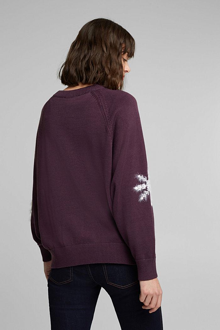 Motiv-Pullover mit Organic Cotton, AUBERGINE, detail image number 3