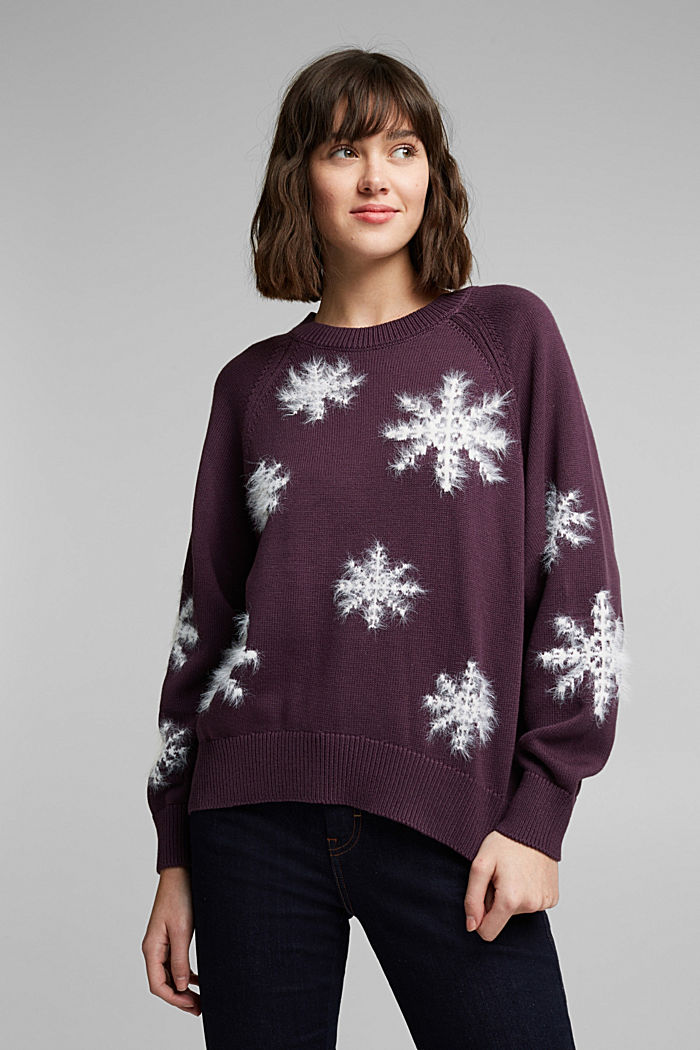 Motif jumper with organic cotton, AUBERGINE, detail image number 5