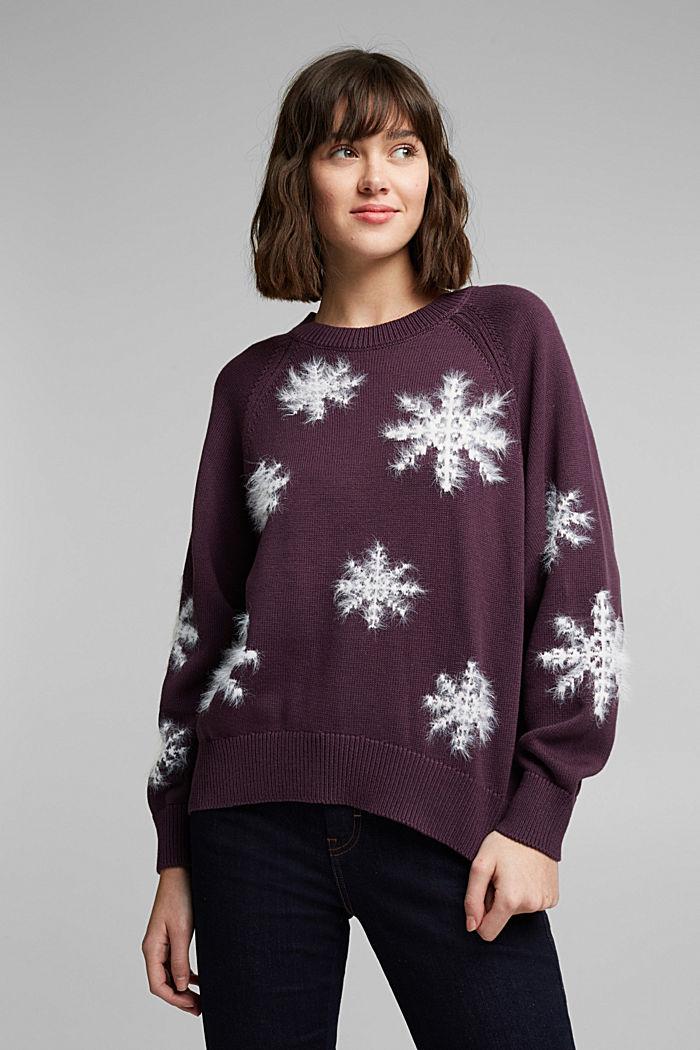 Motiv-Pullover mit Organic Cotton, AUBERGINE, detail image number 5
