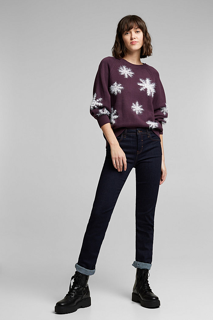 Motif jumper with organic cotton, AUBERGINE, detail image number 1