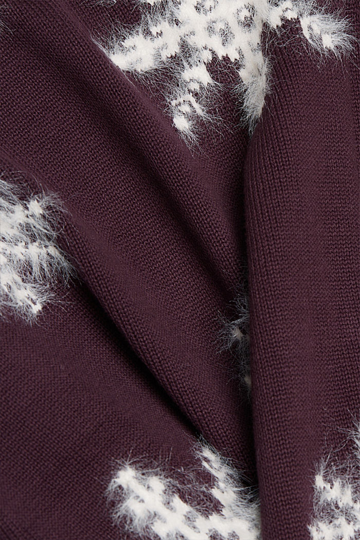Motif jumper with organic cotton, AUBERGINE, detail image number 4