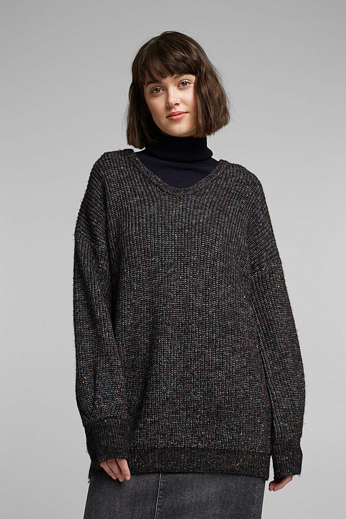 Wool: glittering, multi-colour jumper, GUNMETAL, detail image number 0