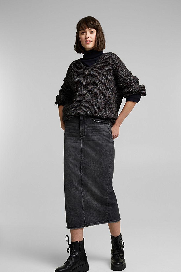 Wool: glittering, multi-colour jumper, GUNMETAL, detail image number 1