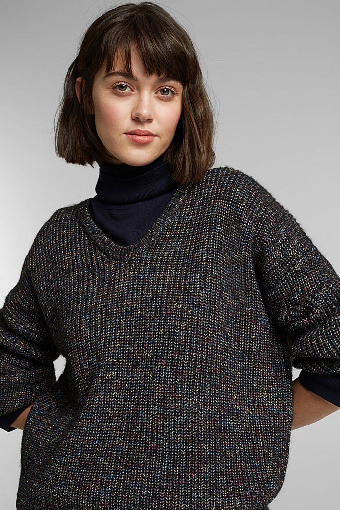 Wool: glittering, multi-colour jumper