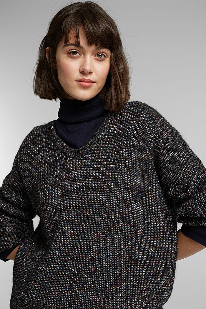 Wool: glittering, multi-colour jumper, GUNMETAL, detail image number 5