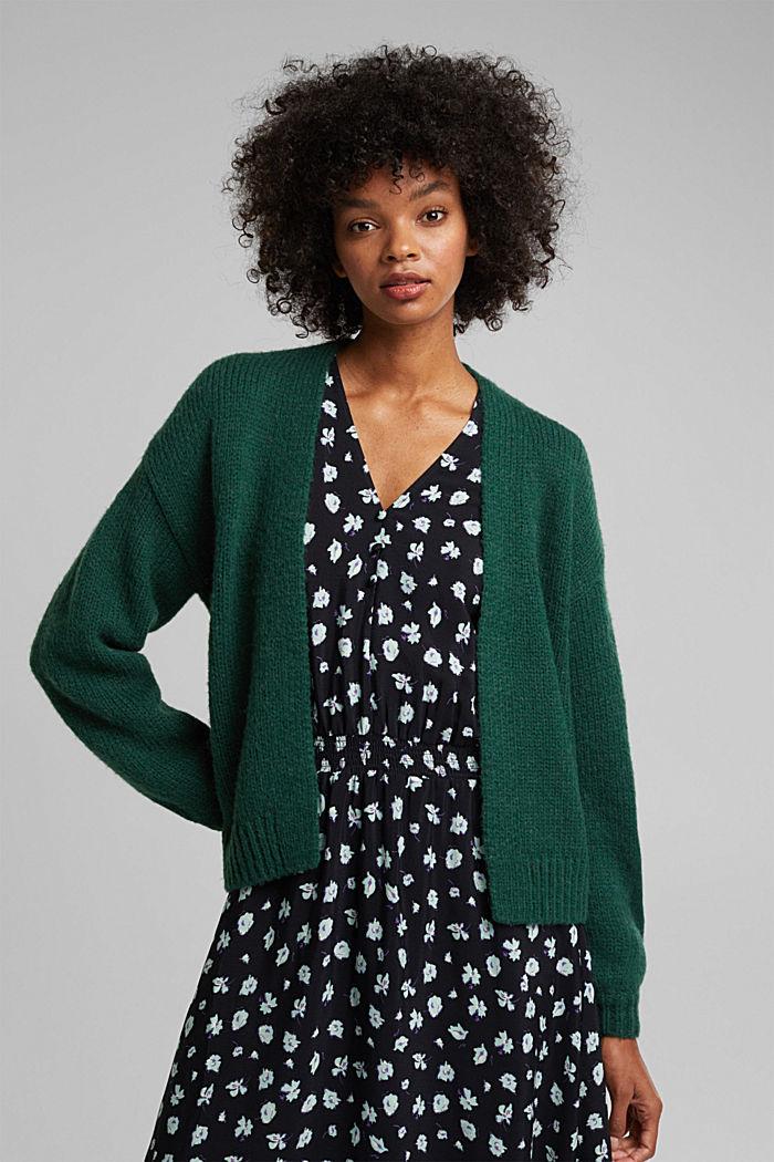 Alpaca/wool blend: open cardigan, DARK TEAL GREEN, detail image number 0