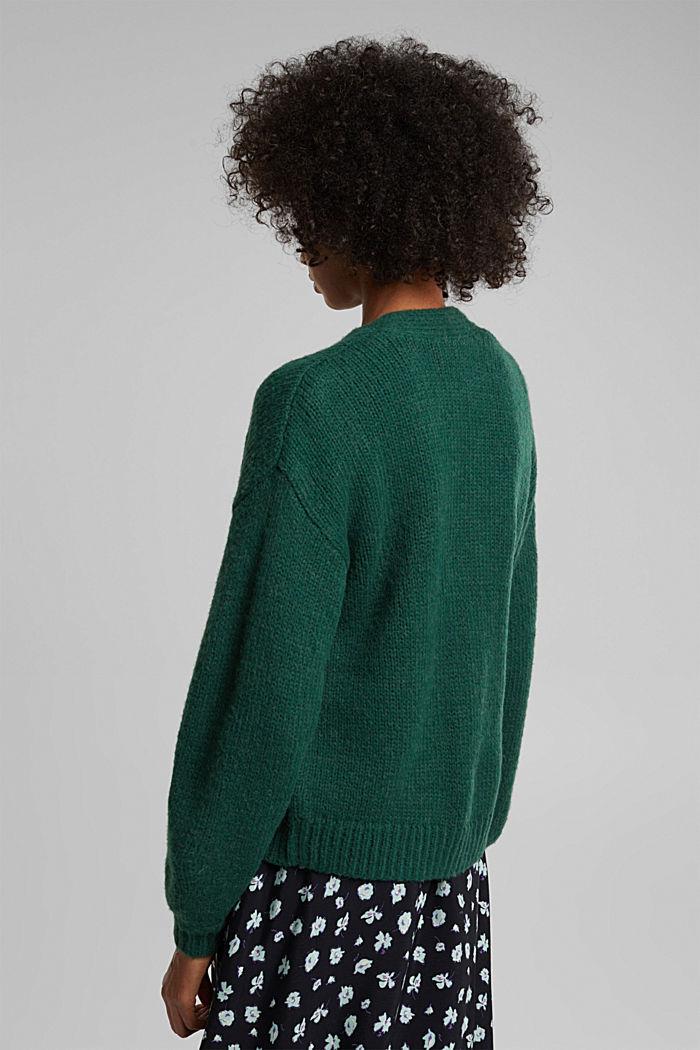 Alpaca/wool blend: open cardigan, DARK TEAL GREEN, detail image number 3