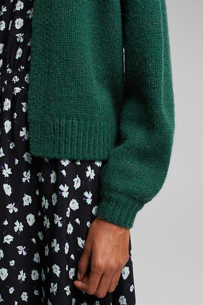 Alpaca/wool blend: open cardigan, DARK TEAL GREEN, detail image number 2