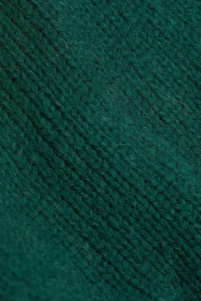 Alpaca/wool blend: open cardigan, DARK TEAL GREEN, detail image number 4