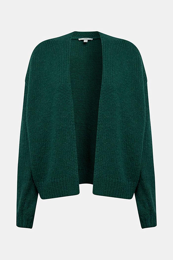 Alpaca/wool blend: open cardigan, DARK TEAL GREEN, detail image number 5
