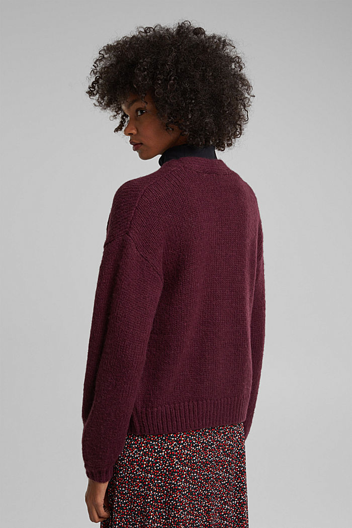 Alpaca/wool blend: open cardigan, AUBERGINE, detail image number 3